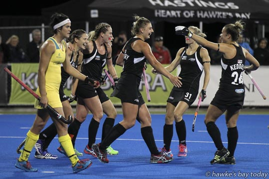 Second left: No 26 Pippa Hayward, New Zealand, scored her team's third goal - Final score 3-2, New Zealand beat Australia, Festival of Hockey, Hawke's Bay Regional Sports Park, Hastings. photograph