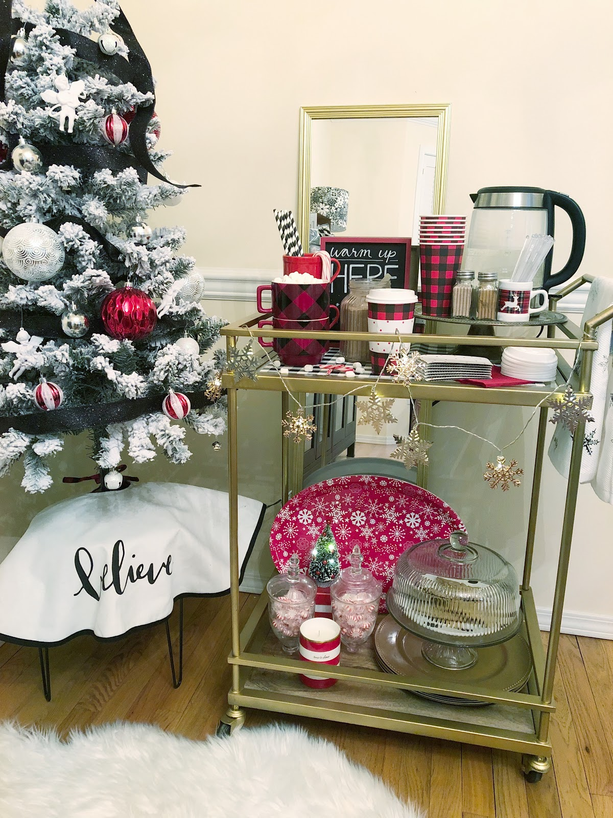 how to set up a hot cocoa bar on a bar cart
