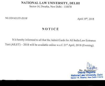 AILET Admit Card 2018 To be Available from 21st April! NLU Hall Ticket