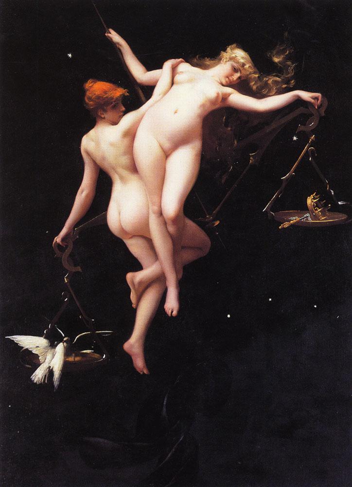 Pintura erótica de Ricardo Falero representando el signo de libra