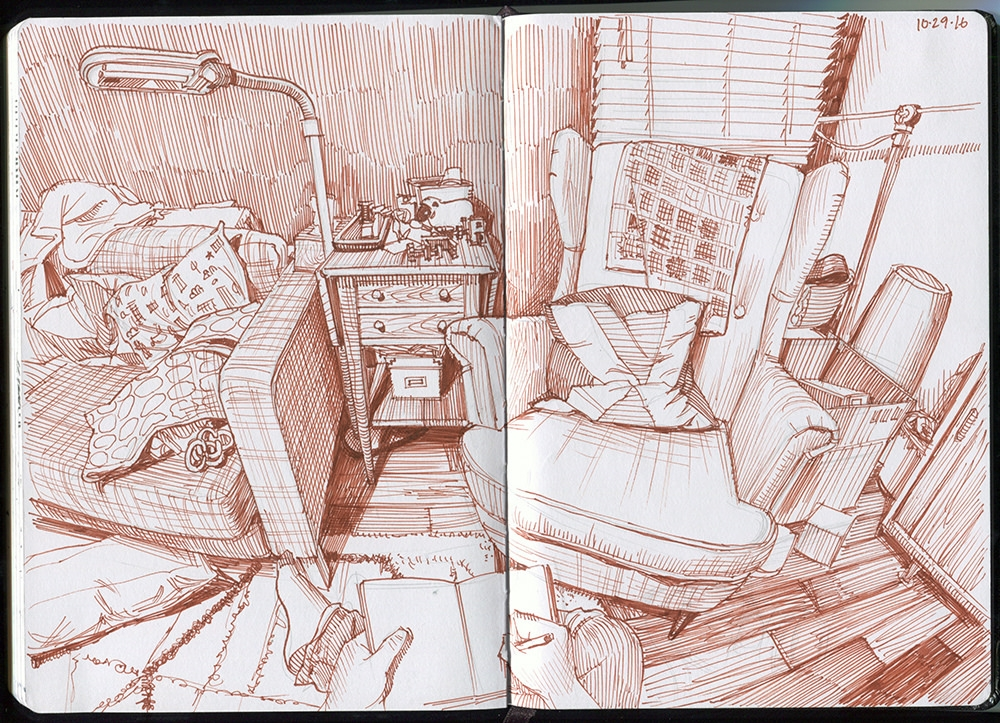 05-Living-Room-Corner-Sepia-Paul-Heaston-Urban-Sketcher-in-Moleskine-Drawings-www-designstack-co