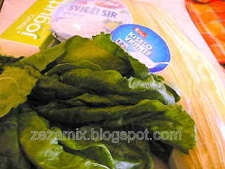 Ingredients for salty chard and cheese strudel