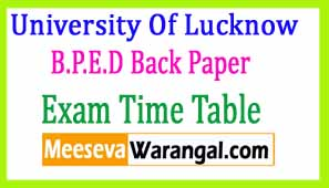 University Of Lucknow B.P.E.D Back Paper 2016 Exam Time Table