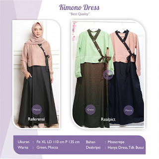 Jual Kimono Dress Bahan Mosscrepe Ukuran Xl
