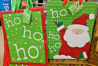 HO HO HO Santa green gift bags naughty girl Christmas stocking