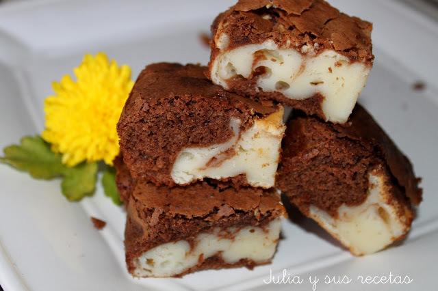 Brownie de chocolate y queso sin gluten. Julia y sus recetas