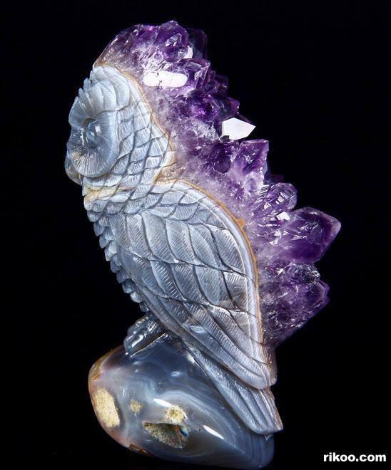 Kristályvarázs: Ametiszt-druzy achát kristály bagoly (Kép)