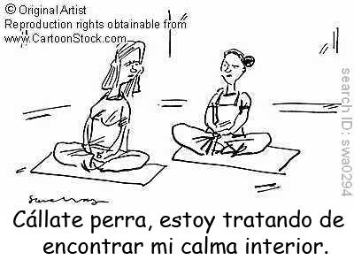 Viñeta cómica sobre meditación.