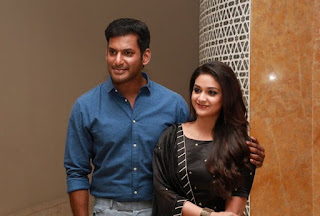 Keerthy Suresh with Vishal in Pandem Kodi 2 Press Meet