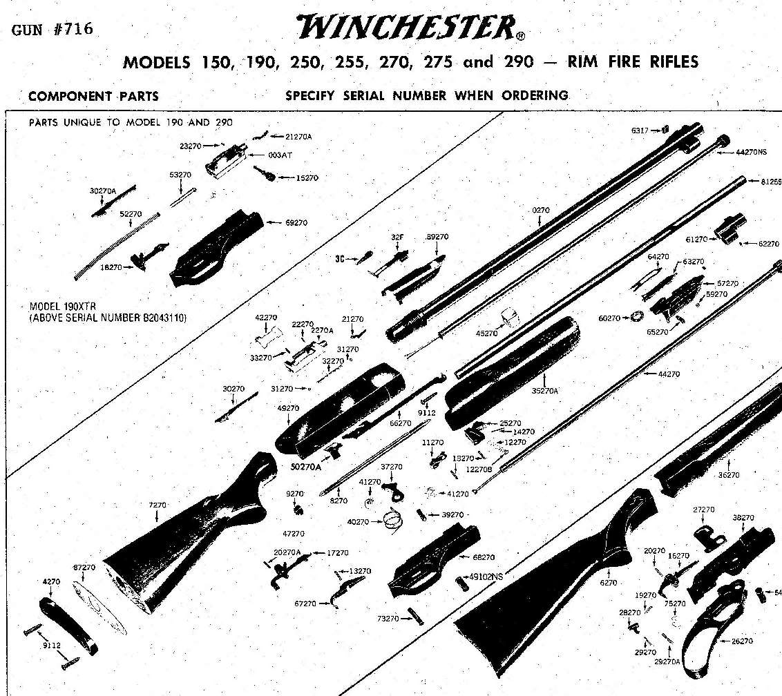 Winchester 190 22lr Rifle Parts