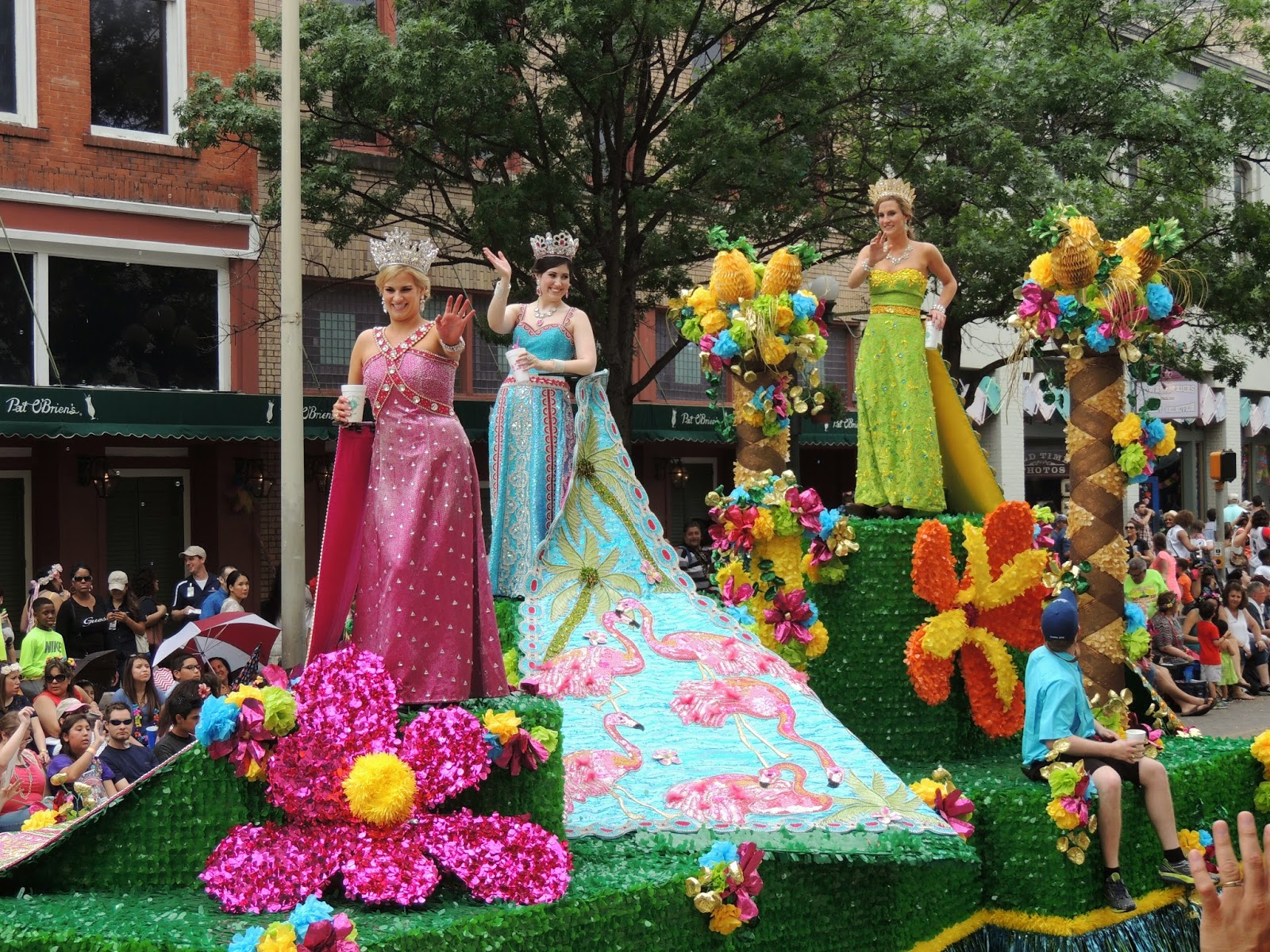 Many Floats Featured Fiesta Royalty In The Beautiful Dresses