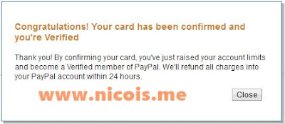 Selamat! kartu Jenius sudah terkonfirmasi dan akun paypal sudah terverifikasi (verified)