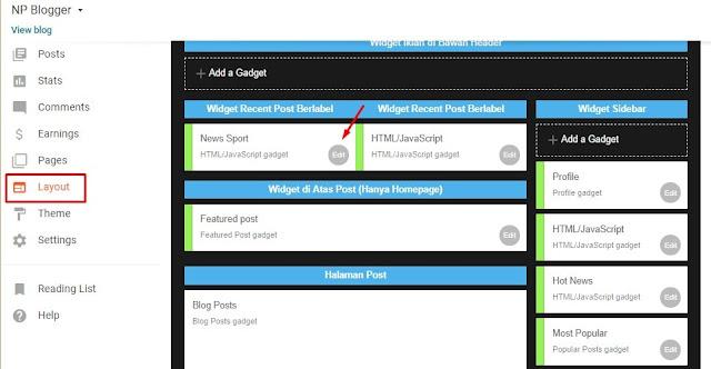 Cara Membuat Recent Post dengan Thumbanil di Template Blogger versi Non-AMP