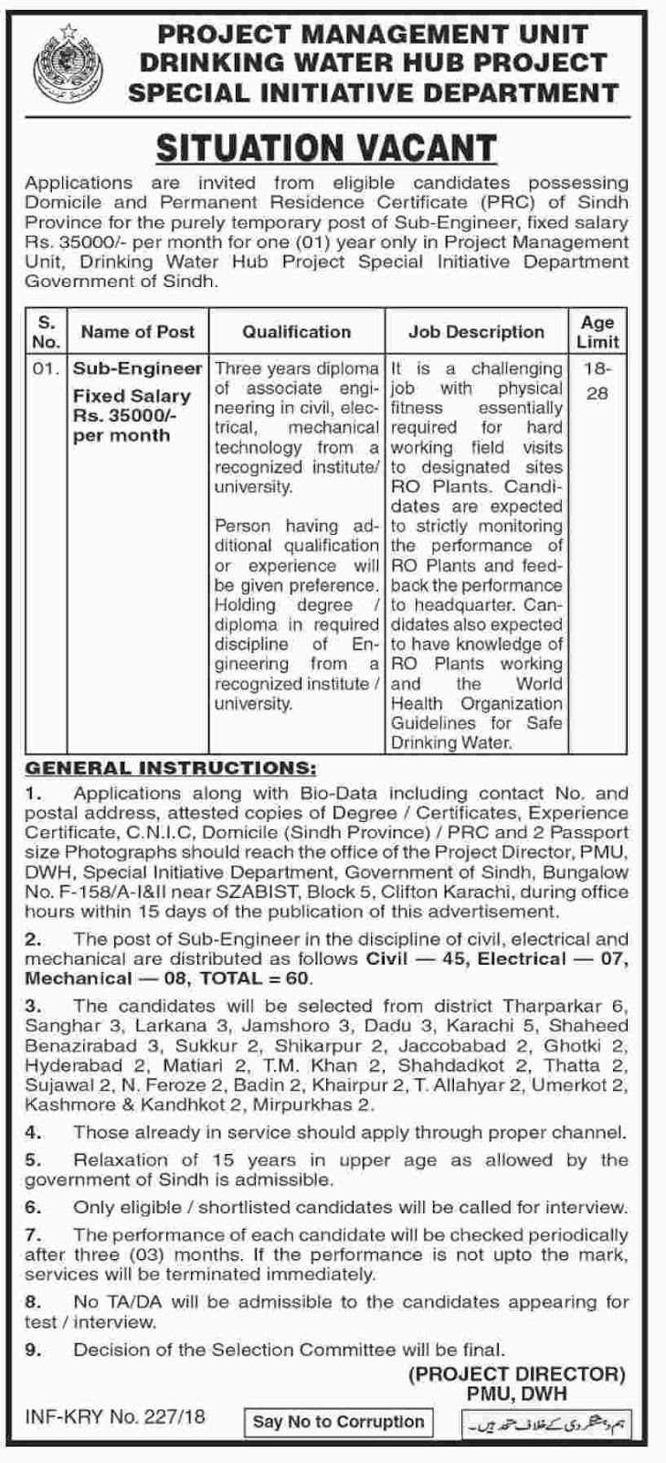 Jobs In Drinking Water Hub Project Special Initiative Department  Sindh 2018