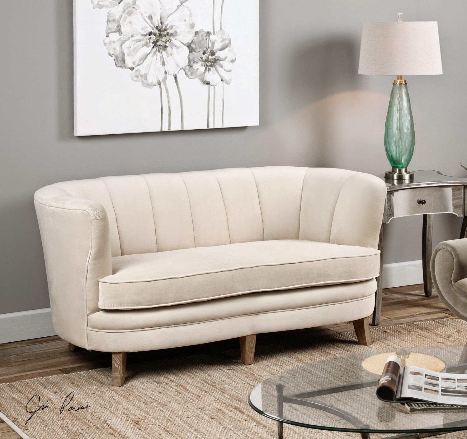Curved Sofas For Sale: Curved Loveseat Sofa