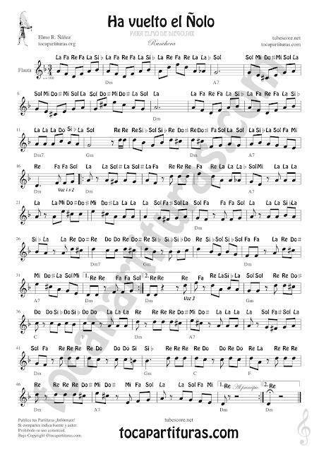 Ha vuelto el Ñolo Partitura con Notas en Letra de Instrumentos en Clave de Sol como Flautas, Violín, Saxofones, Trompeta, Clarinete, Cornos... (spanish notes)
