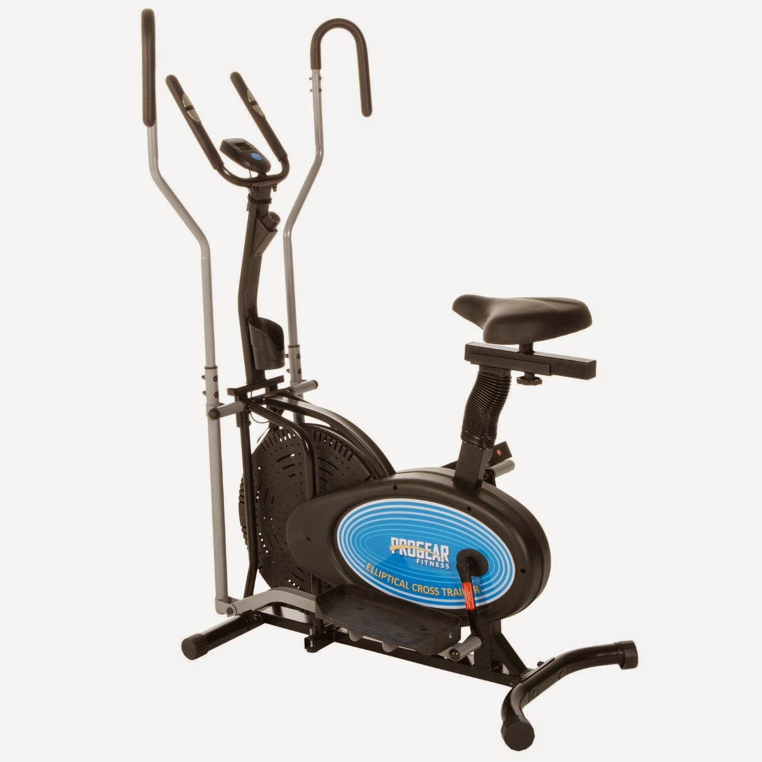 "ProGear 400LS 2 Dual Trainer Air Elliptical & Exercise Bike, review features, 2 machines in 1 for low price, 14"" stride length, backward stride capability, dual action workout arms, tension adjustment, 4 way adjustable seat"