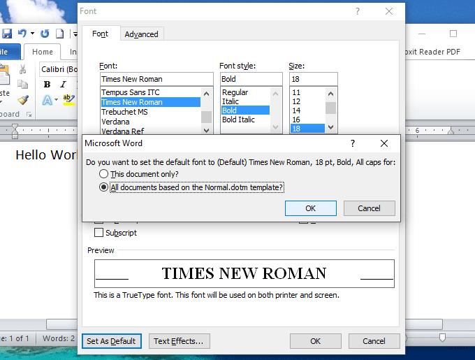 Hướng dẫn đặt font chữ mặc định trong word