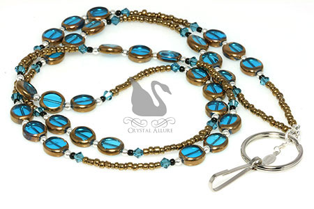 Stained Glass Bronzed Blue Crystal Beaded Lanyard (L107)