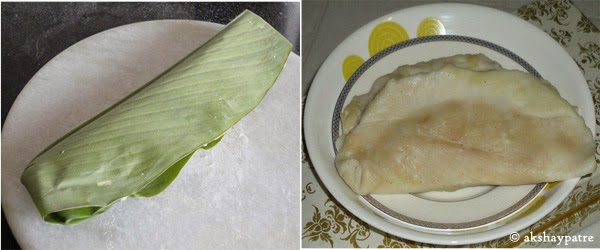 patholi folded and steamed