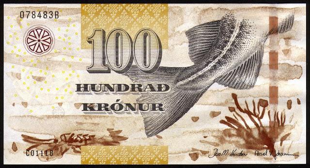Faroe Islands Banknotes 100 Krone banknote 2011 Atlantic cod