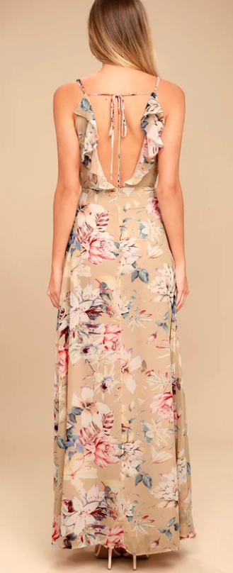 lulus floral beige dress