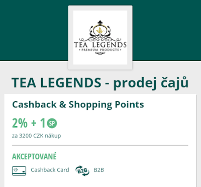 Tea Legends, prodej čajů, Cashback World / Lyoness