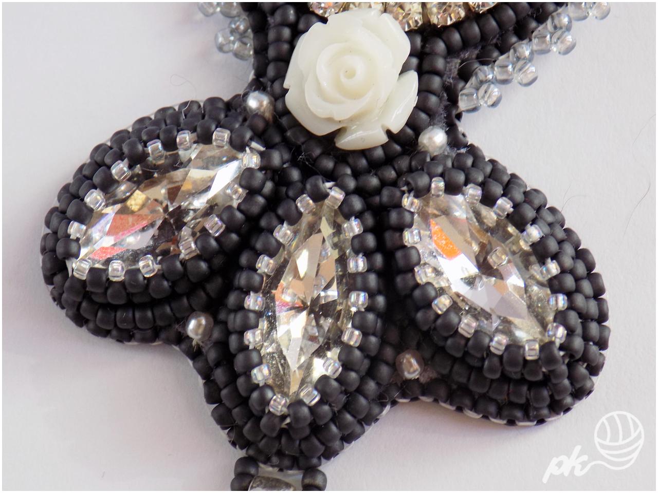 taśma cyrkoniowa, swarovski, haft koralikowy, wisior, rękodzieło, kamea, vintage, gotyk, biżuteria, koraliki toho,