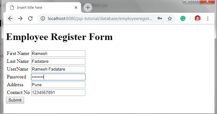 JSP Registration Form + JDBC + MySQL Example