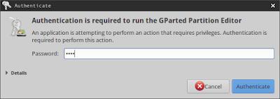 Buka aplikasi gparted dan masukkan password root anda