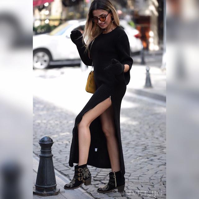 Μακρυμάνικο πλεκτό μάξι μαύρο φόρεμα KATARA BLACK