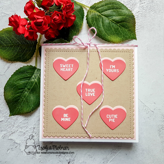 Valentine Card by Zsofia Molnar | Candy Heart Stamp Set and Die Set by Newton's Nook Designs #newtonsnook #handmade