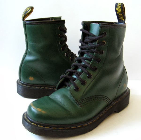 Dr Martens Doc Martens Green Leather Ankle Boots Womens