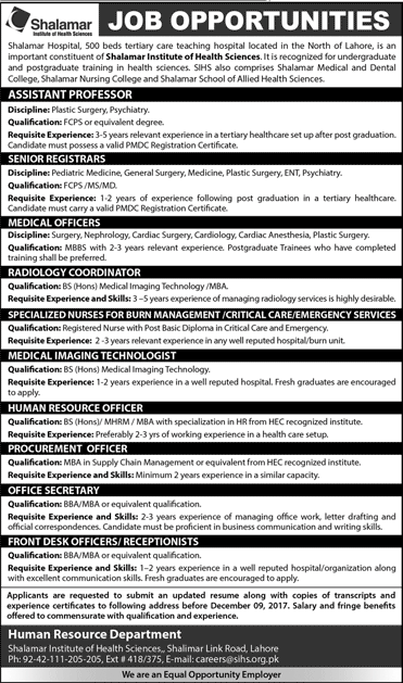 Hospital Jobs in Lahore, Jobs for Doctors in Lahore, Medical Jobs in Lahore, Jobs in Punjab