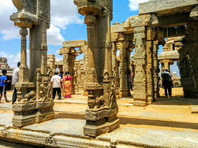 The maze of carved pillars - a highlight of Lepakshi temple, Hindupur, Andhra Pradesh