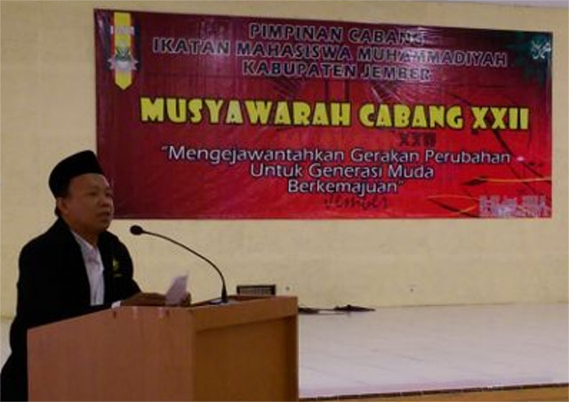 Sambutan ketua PDM, ust. Kusno pada musycab ke-22 Ikatan Mahasiswa Muhammadiyah cabang Jember