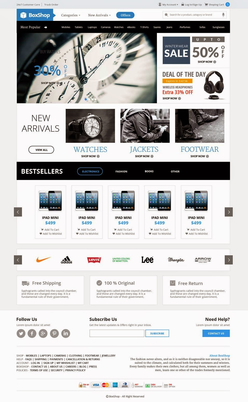 BoxShop – Free Ecommerce Website PSD Template