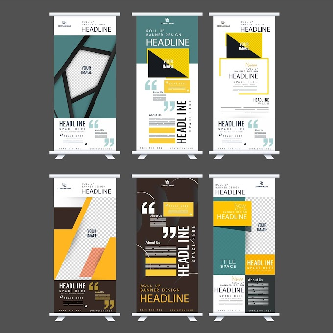 Rolled up standee banner templates colorful modern decor Free vector