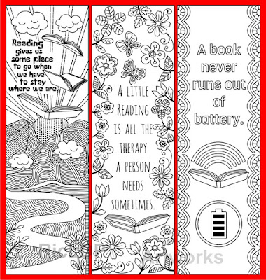 coloring bookmarks with quotes on books and reading