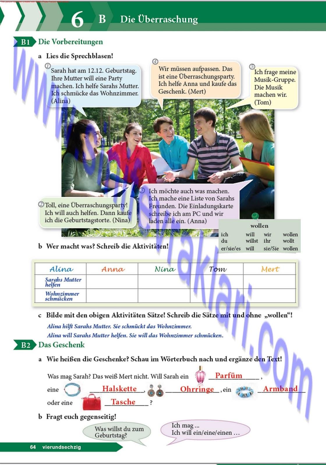 9 Sınıf Almanca A11 Ders Kitabı Cevapları Sayfa 64 Ders Kitabı