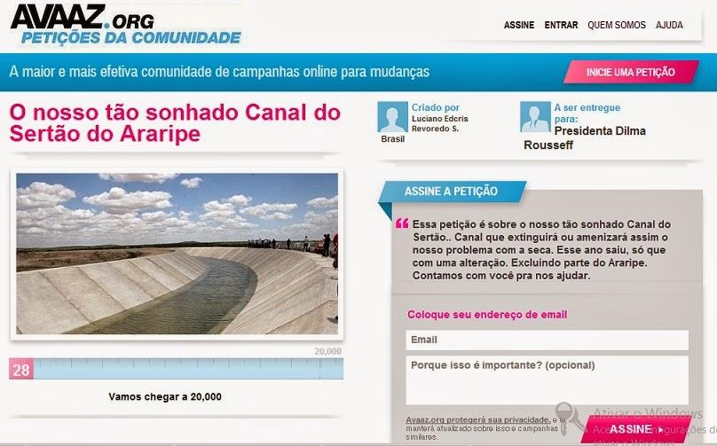 l do Canal do Sertão pode ser assinada pela internet ~ Visão