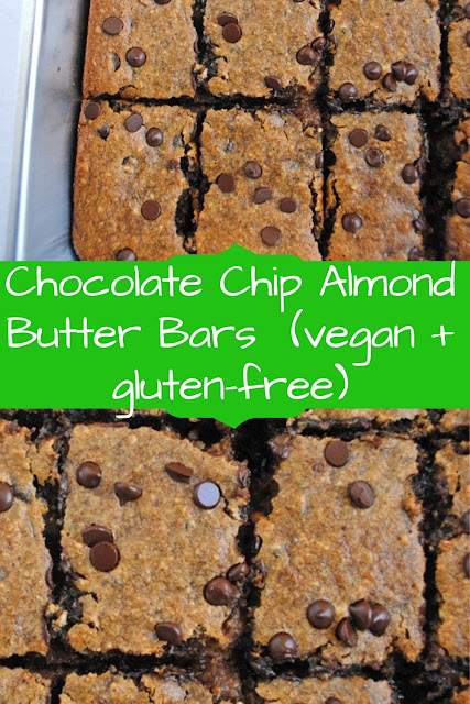 Chocolate Chip Almond Butter Bars (vegan + gluten-free)  #ChocolateChipReceipes  #AlmondButterReceipes  #ChipAlmondReceipes