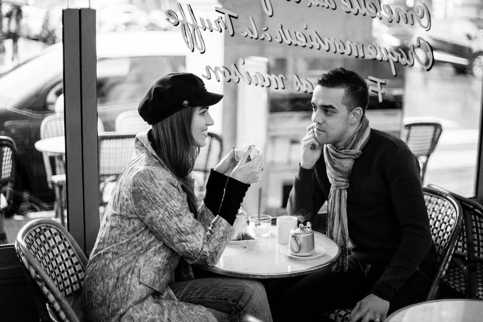 coffee shop photo couple black white
