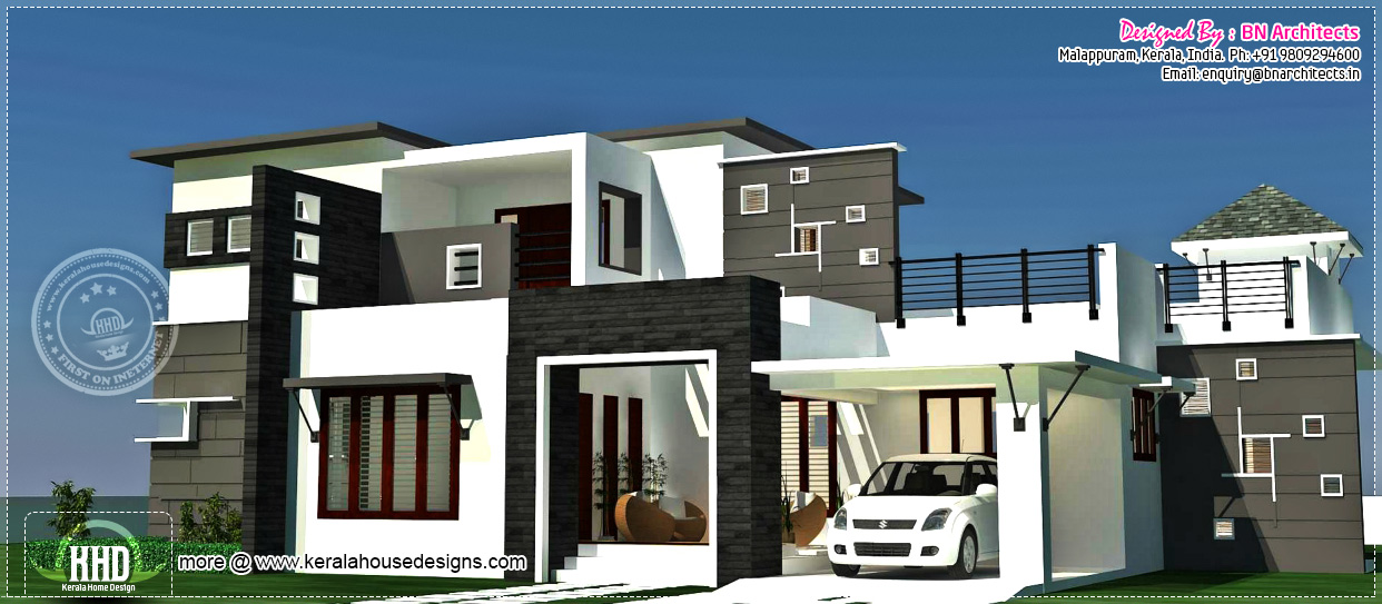 3bhk Contemporary House on Covered Front Porch Rear Patio 2 Car