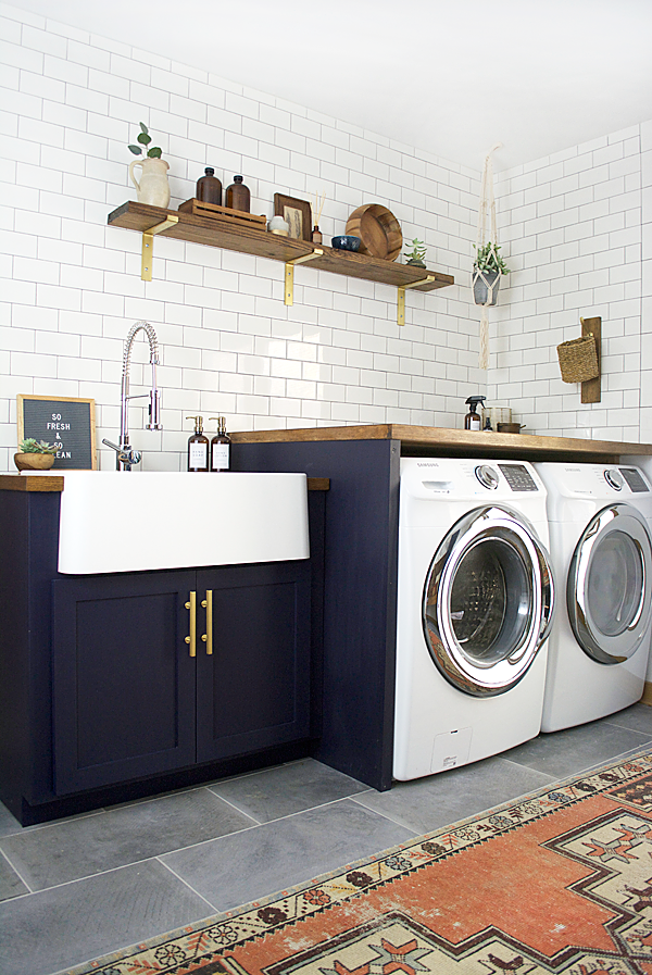 Modern Navy Laundry Room