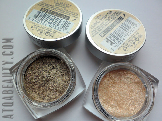 L'Orea, Color Infaillible,  002 Hourglass Beige & 021 Sahara Treasure