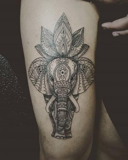 Impressionante Lotus e Elefante Desenho de Tatuagem para Homens