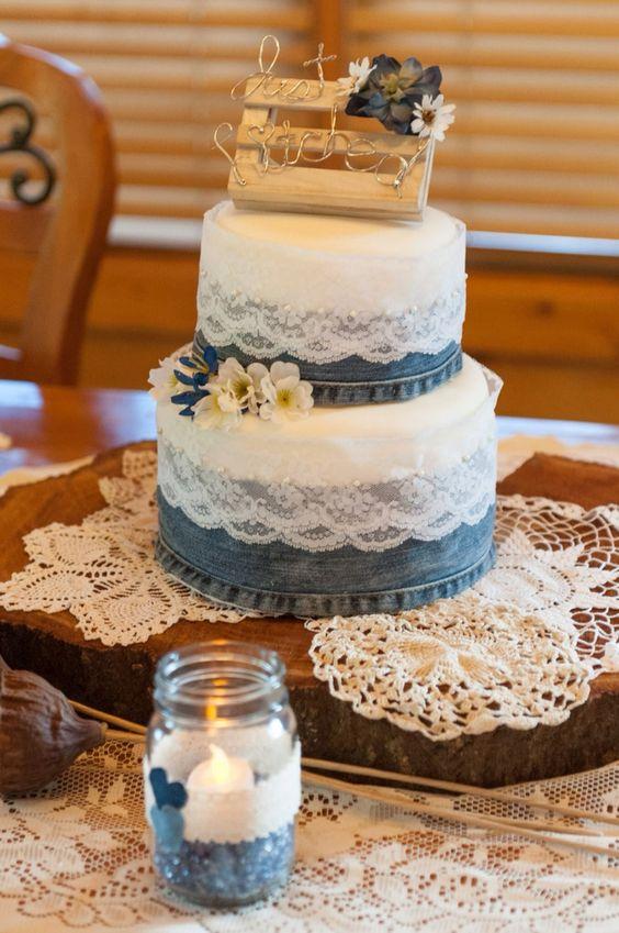 2 Creative Denim And Lace Wedding Cake Designs Life Decor Fashion