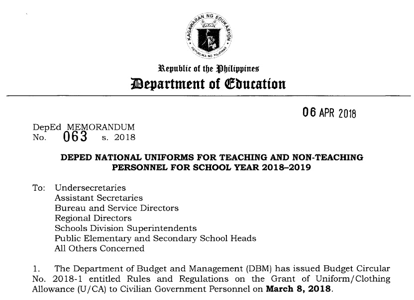 DepEd National Uniforms For Teaching And Non-Teaching