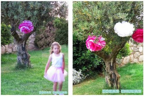 Pompones en un olivo y princesa con tutú